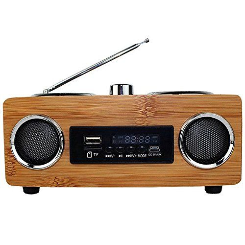 Vintage Radio Retro Super Bass FM Radio Bamboo Multimedia Speaker TF Card/USB/FM Radio/MP3 player Portable Radio Receiver