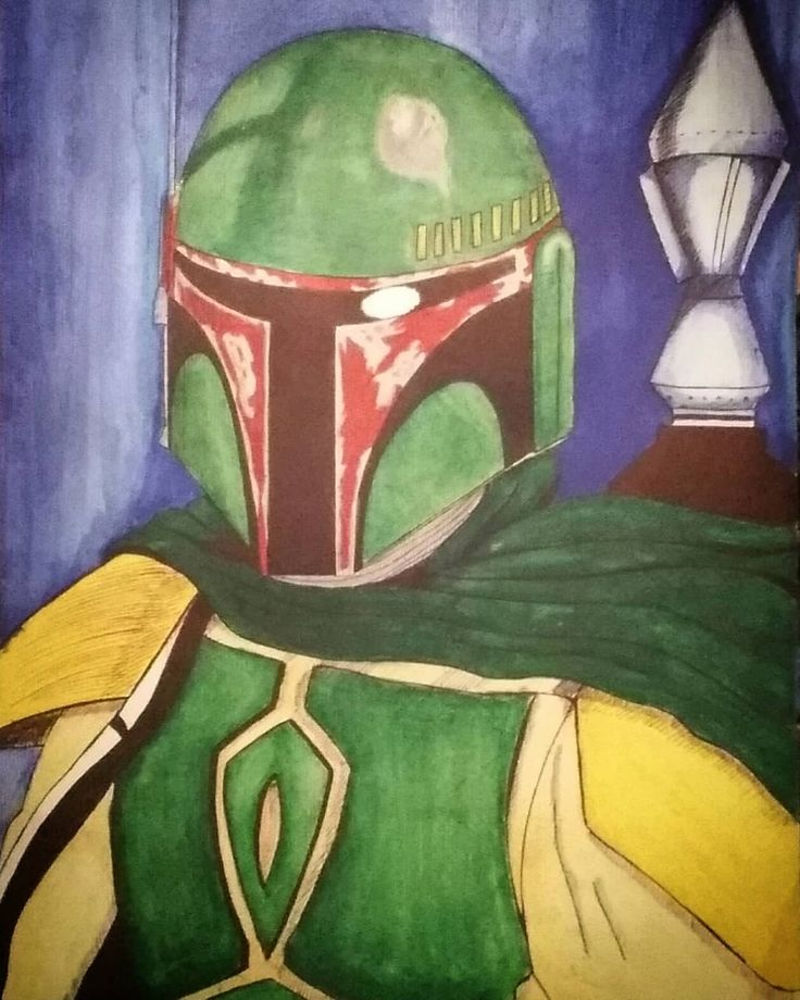 Boba fett #starwars #alien #aliens #space #war #bobafett #acuarela #paint #colours #colores #dibujo #draw #drawing #assassin #luke #darthvader #yoda #jedi #sith #badboy #bad #goodmorning #goodday #goodnight