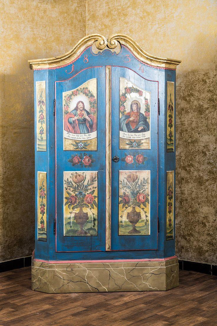 Cool Antiker Chiemgauer Bauernschrank W scheschrank Landhaus Schrank religi s bemalt in M bel u Wohnen M bel Schr nke