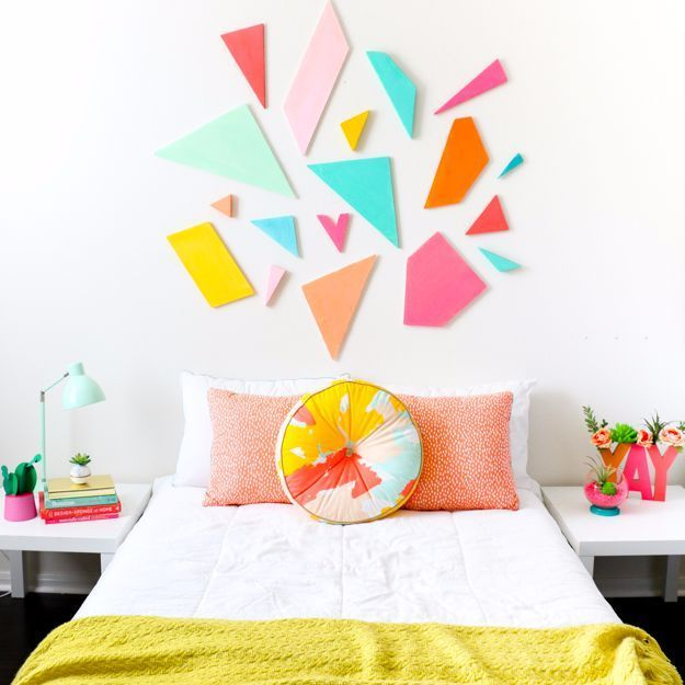 Best DIY Room Decor Ideas for Teens and Teenagers - Colorful Geometric Headboard - Best Cool Crafts, Bedroom Accessories, Lighting, Wall Art, Creative Arts and Crafts Projects, Rugs, Pillows, Curtains, Lamps and Lights - Easy and Cheap Do It Yourself Ideas for Teen Bedrooms and Play Rooms http://diyprojectsforteens.com/diy-room-decor-ideas-teens