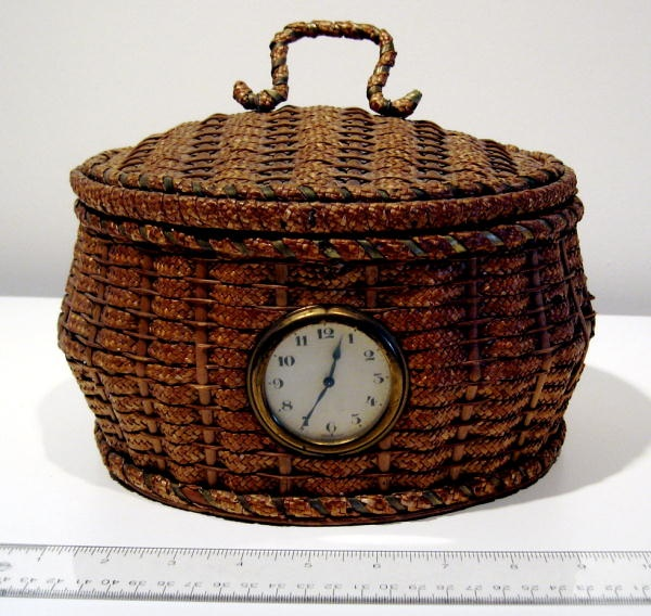 Old Sewing Basket with clock