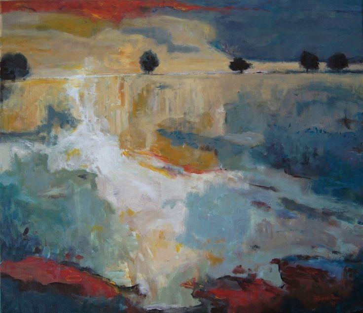 """""""Sunset fields"""" original modern landscape painting by Bożena Zajiczek-Panuś #landscape #painting #abstractpainting #abstract #modernart #fields #landscapepainting"""