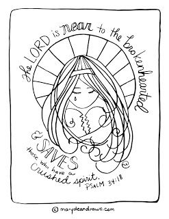 "Psalm 34:18 ""the lord is near to the brokenhearted"" printable Bible verse coloring page"