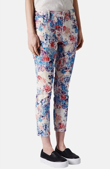 Topshop Moto 'Leigh' Flocked Floral Jeans (Blue Multi) available at #Nordstrom