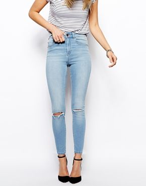 ASOS Ridley High Waist Ultra Skinny Ankle Grazer Jeans in Watercolour Blue with Ripped Knees
