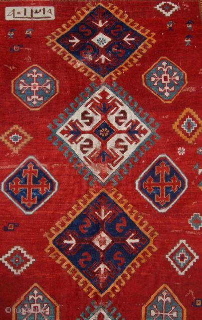 Antique Kazak rug. Dated circa 1890's.240 x 180cm. Needs some repair.