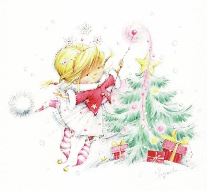 Детские новогодние открытки для девочек