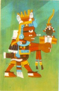"""XIUHTECUHTLI, DIOS DEL FUEGO """"También se le llamaba Huehuetéotl, el dios viejo del fuego y el señor viejo.  En la efigie de Cuatlicue que es la representación de la cosmogónica Azteca, Xiutecuhtli esta en el centro de la quinta dirección ; de arriba hacia abajo. Era uno de los dioses mas venerados.  Las víctimas que se ofrendaban primero eran anestesiadas con yauhtli ( haschich ) y luego arrojadas al fuego."""""""