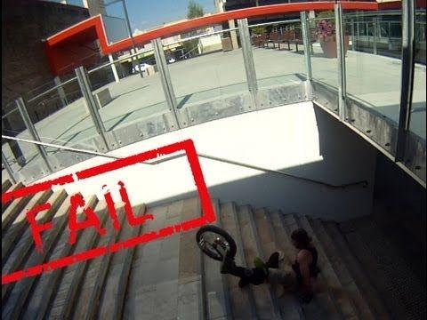 #Unicyclist falls down 11 stairs! FAIL