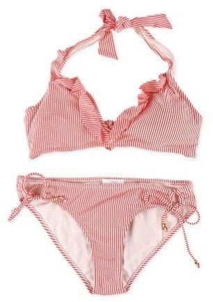 Jessica Simpson Womens Seersucker Ruffle Side Tie 2 Piece Bikini orange L