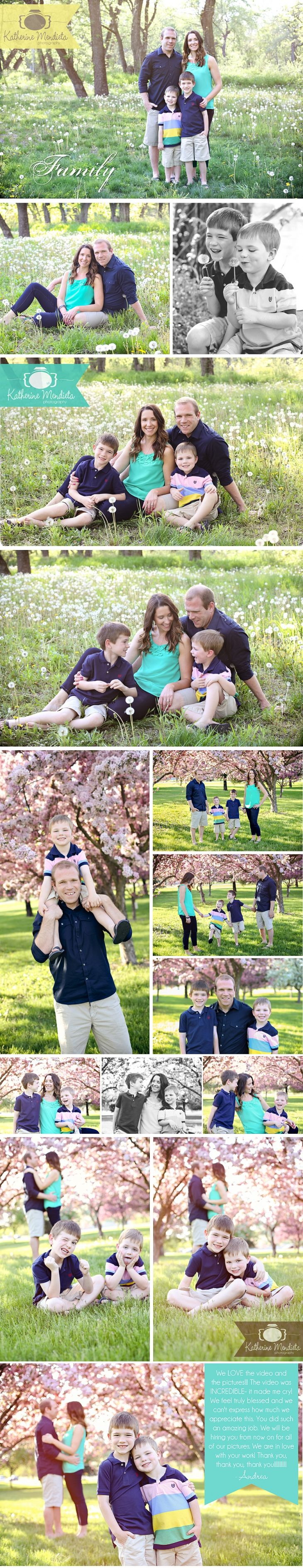 Family photo session with two little boys, dandelion field, flowering pink crabapple trees, love and laughter. Visit www.katherinemphoto.com for more pictures!