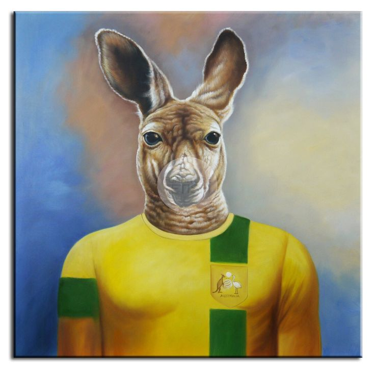 Australian Kangaroo Oil Canvas 100 x 100cm
