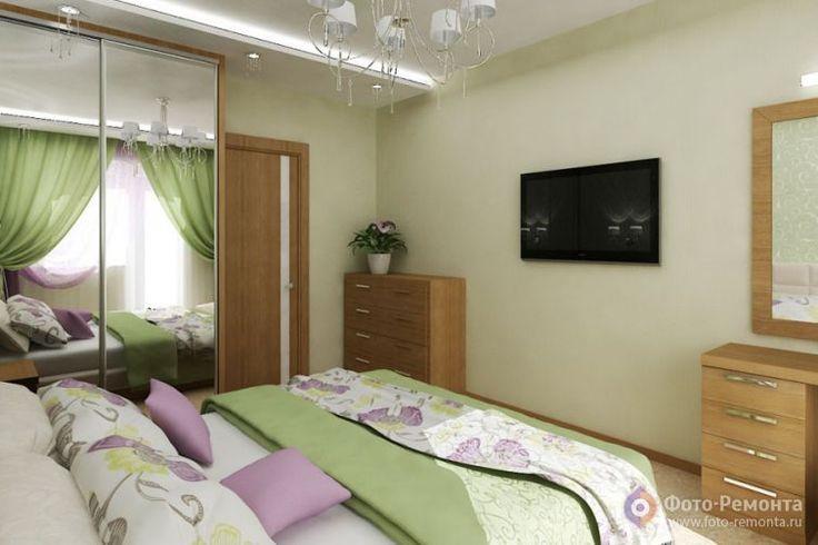 Ремонт спальни в зеленом цвете
