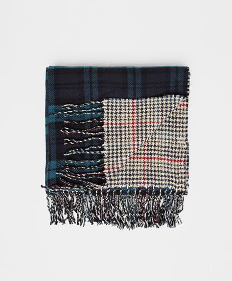 Double-sided check print foulard - OYSHO