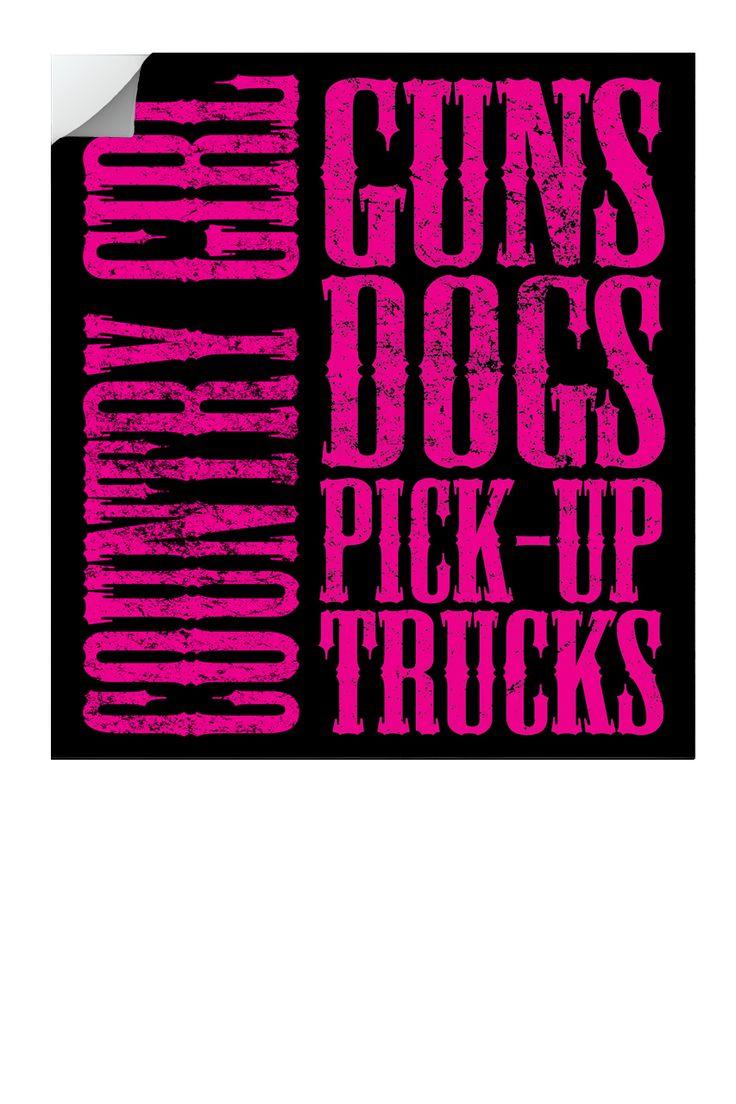 "Country Girl ® Guns Dogs Pickup Trucks 5"" x 5.5"" Sticker - Country Fashion Clothing"