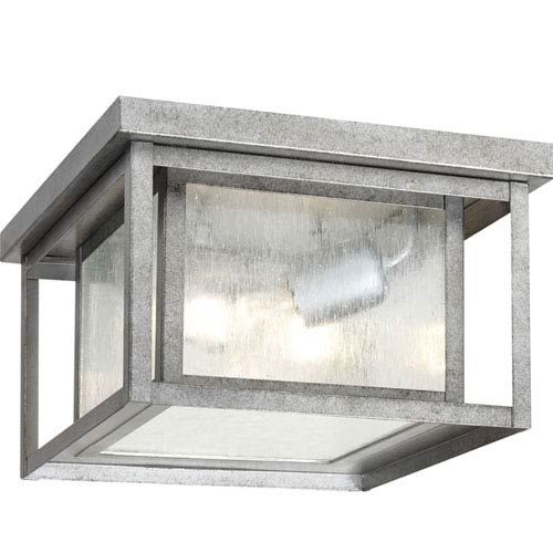 Hunnington Weathered Pewter Two Light Outdoor Flush Mount With Clear Seeded Glass Sea Gull