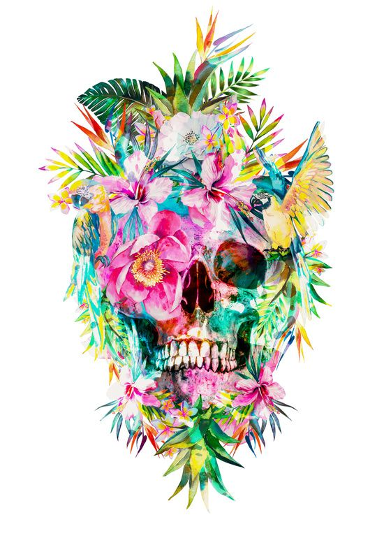 #tropical #skull #art #print