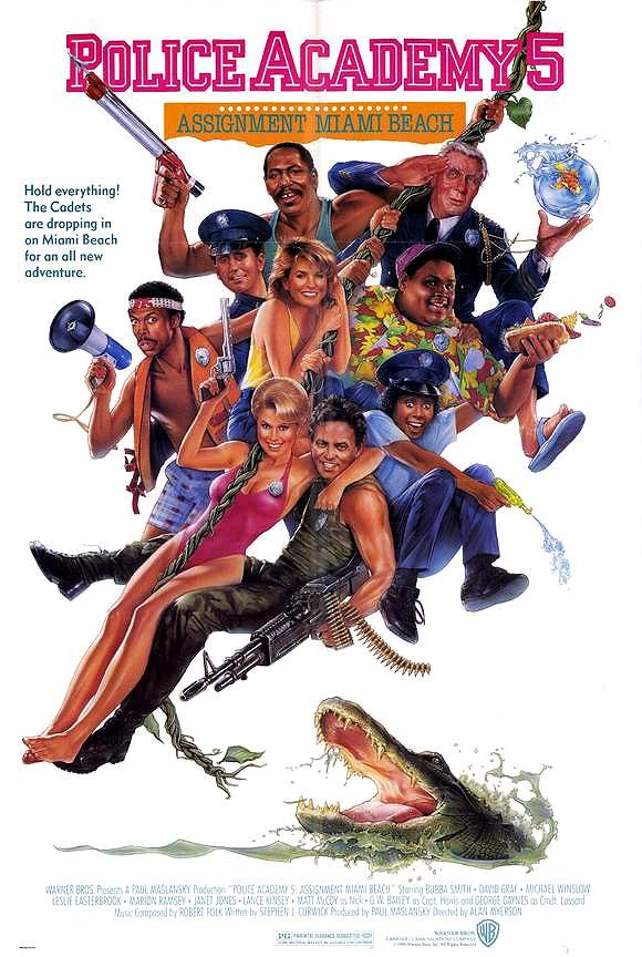 """Police Academy 5: Assignment Miami Beach"" (1988). COUNTRY: United States. DIRECTOR: Alan Myerson. CAST: Bubba Smith, David Graf, G.W. Bailey, Michael Winslow, Marion Ramsey, Leslie Easterbrook, Janet Jones"