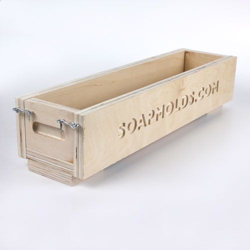 """New wood loaf mold -- this log mold is made out of ¾"""" Unfinished Birch Wood and features a hook and eye latching system for years of use. As with all wood molds, you should always line the mold with plastic or butcher paper for each use. Final Soap Log Dimensions: 2 3/4″ x 3 1/2″ x 17 1/2″."""