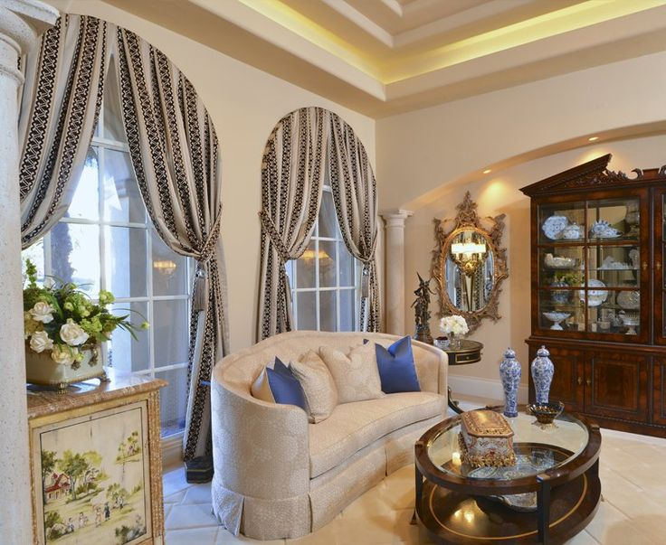 Katharine D Interiors Custom Draperies Accentuate Windows In A Formal Living Room