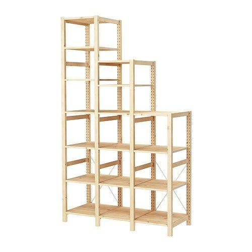 IKEA - IVAR, 3 elementen/planken, Onbehandeld massief hout is een slijtvast natuurmateriaal dat je nog duurzamer en onderhoudsvriendelijker maakt door het oppervlak te behandelen met olie of was.Verstelbare planken, de afstand is naar behoefte aan te passen.