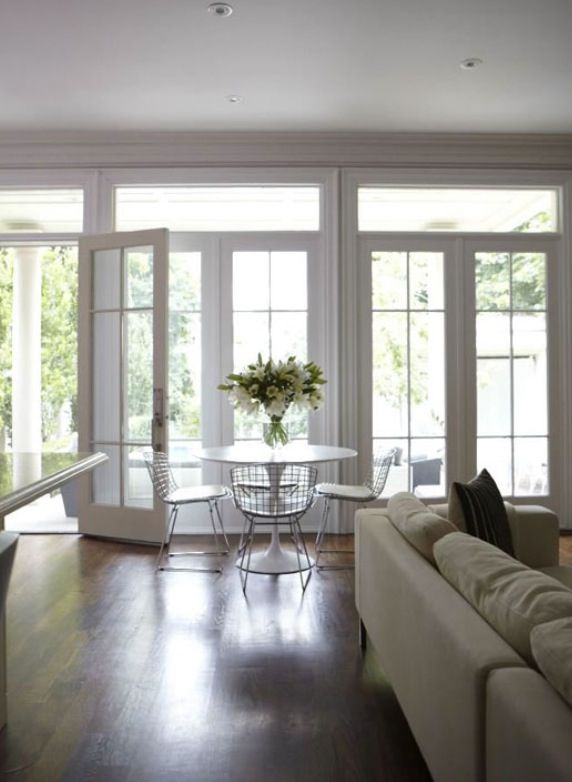 Wall of French doors. This is what it will look like