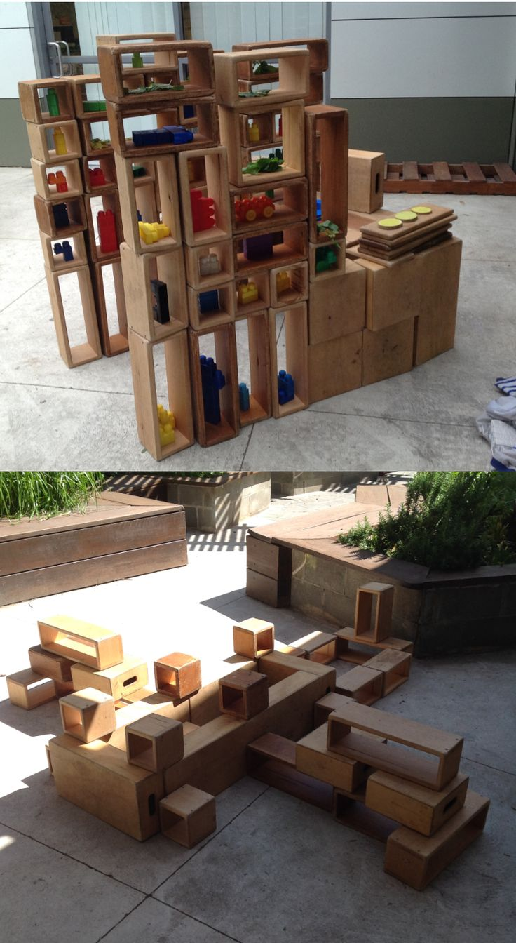 Giving children long periods of uninterrupted play and a variety of open ended resources support children to invent, create, investigate and discover. Pictured are some of the amazing creations our children have created with a variety of our open ended outdoor materials. - Gowrie Victoria