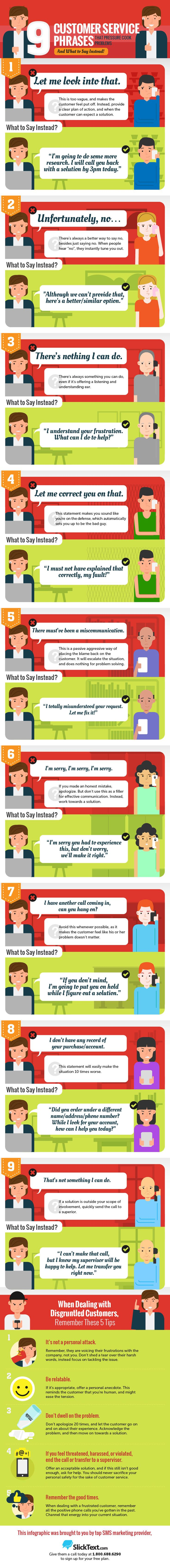9 Customer Service Phrases to Use Instead, from Web Mag. Learn some good phrases to use instead and avoid losing a customer! #infographic #howto