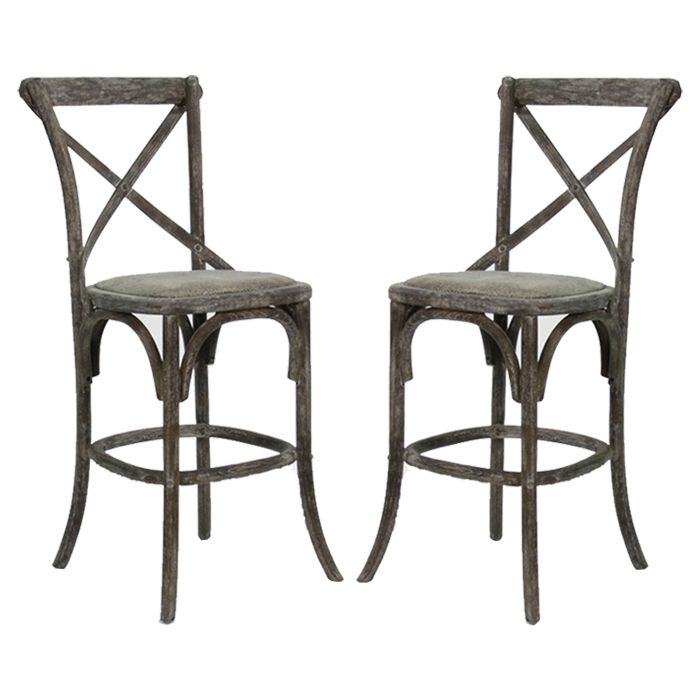 A Great Way To Add A Slightly Rustic Look To Your Dining Or Kitchen Area French  Cafe Counter Stools   Pair   Limed Charcoal Oak Finish