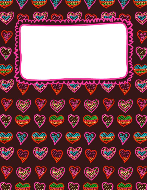 Free printable heart doodle binder cover template. Download the cover in JPG or PDF format at http://bindercovers.net/download/heart-doodle-binder-cover/