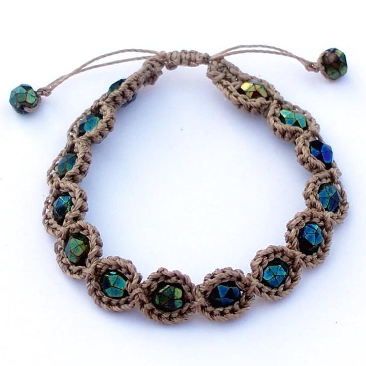 Bohemian Bracelet with Iris Aqua Czech Beads
