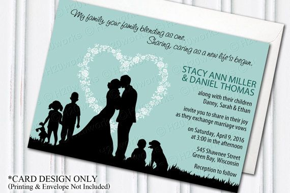 Blended Family Wedding Invitation card design, Blending, PRINTABLE by H20WhiteLacePromises on Etsy
