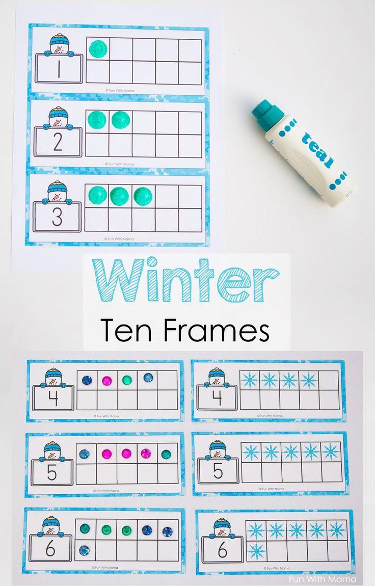 Snowman Winter Ten Frame Printable Winter Math Activities Winter Math Ten Frame