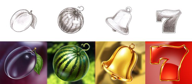 "Graphic design of fruit icons for the game slot-machine ""Gold Fruit"" http://artforgame.com/"