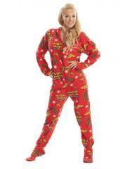 Wonder Woman Hoodie Footie Pajamas for Adults