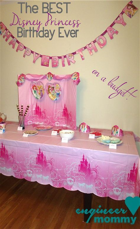 DIY Disney Princess Table Centerpiece using party supplies from Walmart! Check out all my birthday decorating ideas- all within budget! #BDayOnBudget #Ad