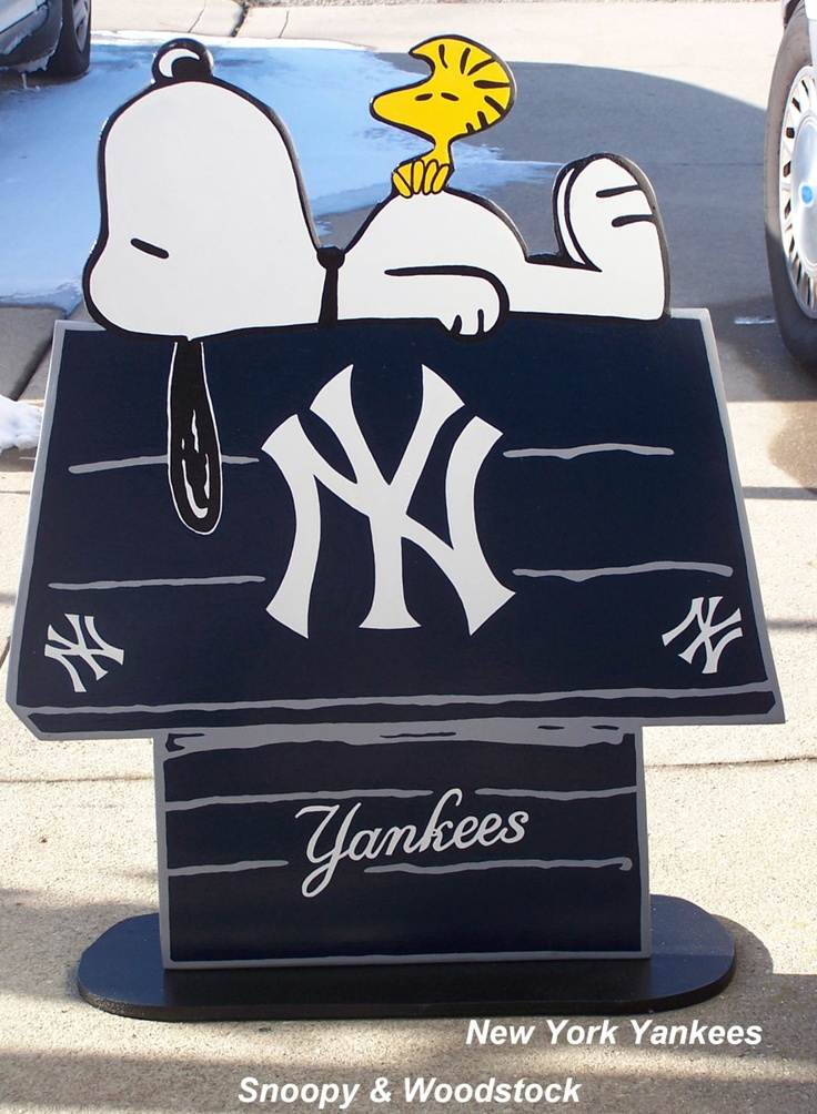 New York Yankees,  Snoopy Peanuts Huge Wood Decor Sign, DOGHOUSE with Woodstock Done in Brillant Team Colors. $45.00, via Etsy.