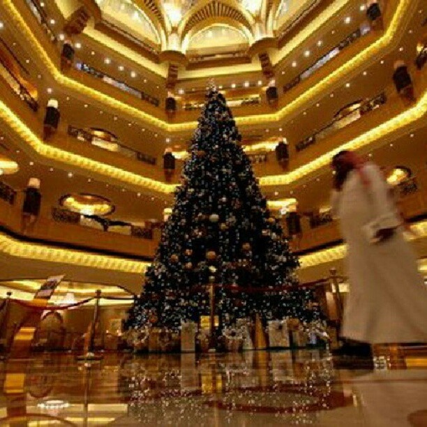 Most Expensive Christmas Tree   Emirates Hotel, Abu Dhabi   Worth Over 11  Million Dollars   Decorated In Diamonds, Pearls, Emeralds And Jewellery.