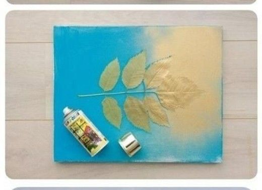 Step 4: Spray the canvas and leaf with a coat of metallic spray paint, including the edges, then carefully remove leaf.  Allow the painted canvas to dry completely.  Install a sawtooth hanger to the back of the canvas and hang your new masterpiece!