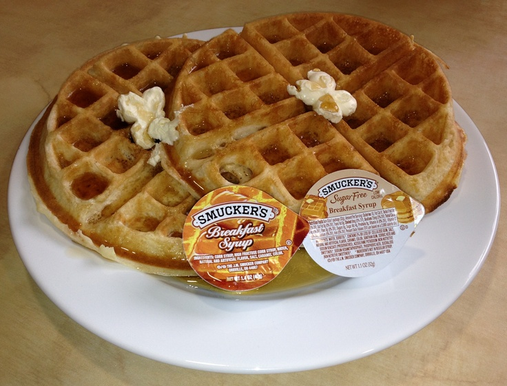 Make your own Belgian Waffles - with two flavors with your choice of regular or flavor of the day (blueberry or cinnamon)