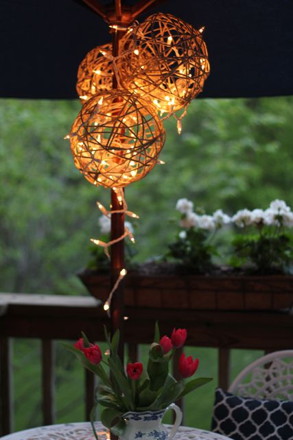 Balloons + twine + miniature lights = DIY lanterns for the patio table.