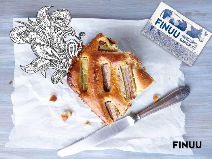 Ciasto rabarbarowe, czyli raparperipiirakka. #finuu #ciasto #rabarbar #cake #finnishfood