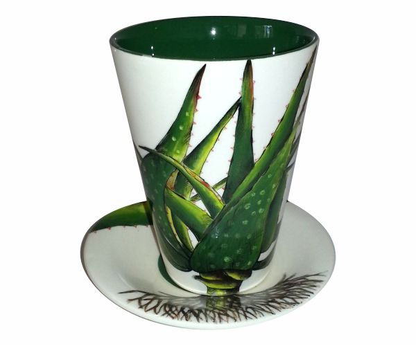 Hand painted green Aloe Coffee Cup. #coffee #cup #Kitchen #green
