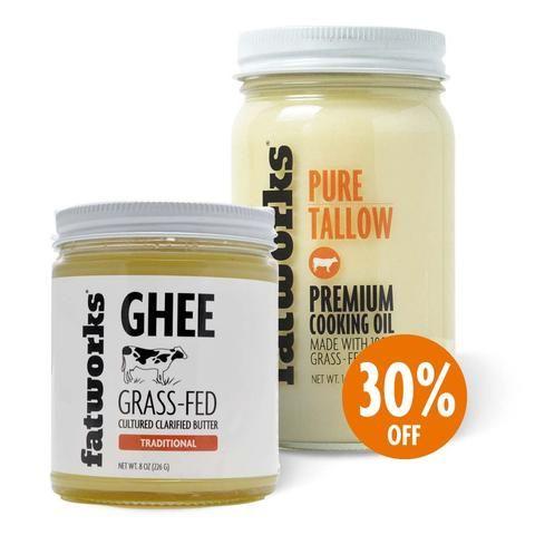 Combo Pack- Grass Fed Beef Tallow (14 oz) & Organic Grass Fed Cultured Cow Milk Ghee (8 oz)