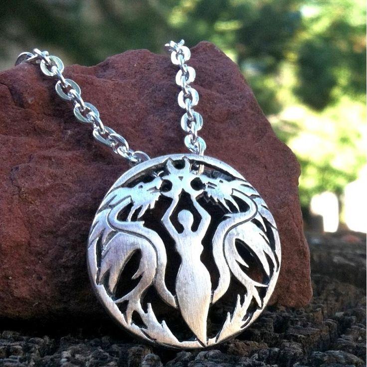 Dragon Goddess Pendant - Crescent Moons - Sterling