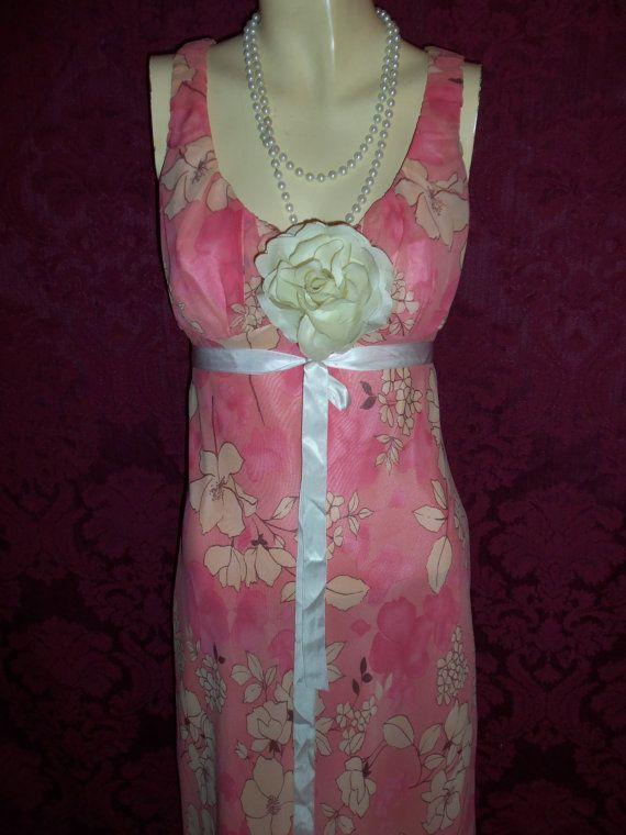 Vintage 80s CHiffon Floral  Gown  Dress by VICTORIASVINTAGE4U, $275.00