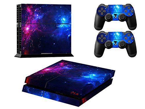 Skin Sticker/Aufkleber Folie Nachthimmel Stern schützende Haut Schale für Sony PS4 Konsole und 2 Controller (double star)