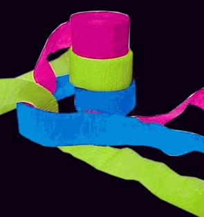 """Black Light Reactive Neon Party Streamers - I realize black lights aren't so """"in"""" anymore but you could have a lot of fun with something like this!"""