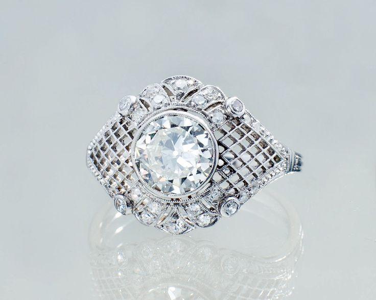 Pierścionek z diamentami 150730/03    #Sklep #Złoto-Orla #Warszawa #pierścionek #ring #platyna #metal #diament #koronka #misterna #diamenty #diamonds #vintage #biżuteria #jewlery #starabiżuteria