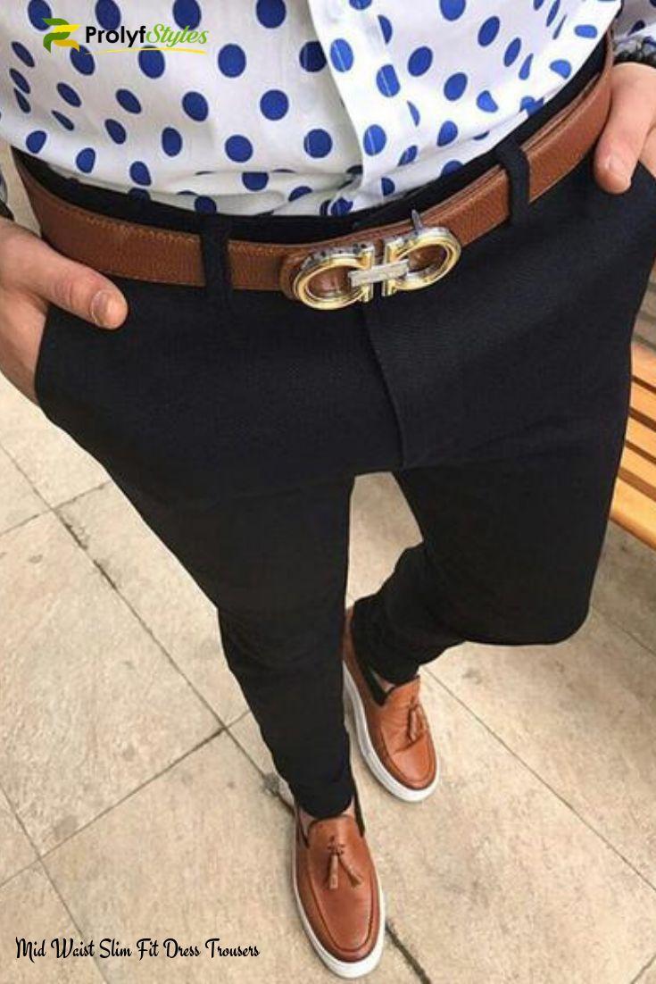 Mid Waist Slim Fit Dress Pants Mens Pants Fashion Black Dress Pants Men Slim Fit Dress Pants [ 1102 x 735 Pixel ]